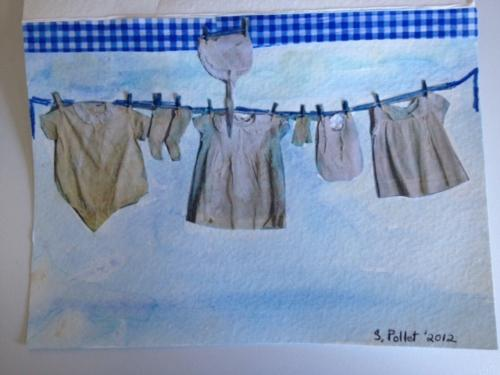 Watercolor Baby Boy Clothesline